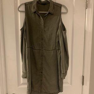 Express army green, open shoulder dress